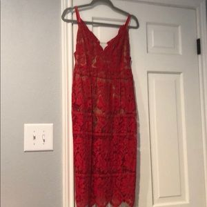 For love and lemons red lace midi dress